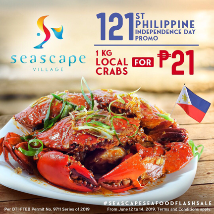Seascape Village Independence Day Flash Sale: 1 KG of crabs for P21