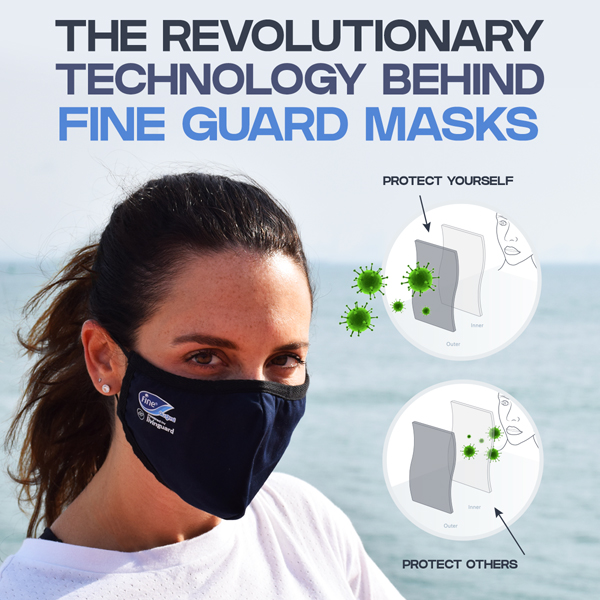 Fine Guard face mask kills bacteria and viruses on contact with the help of Livinguard technology.