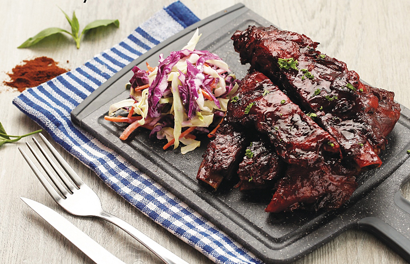 Baked Baby Back Ribs with Coleslaw
