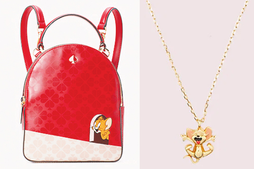 Kate Spade New York x Tom and Jerry mini convertible backpack (left) and mini pendant (right)