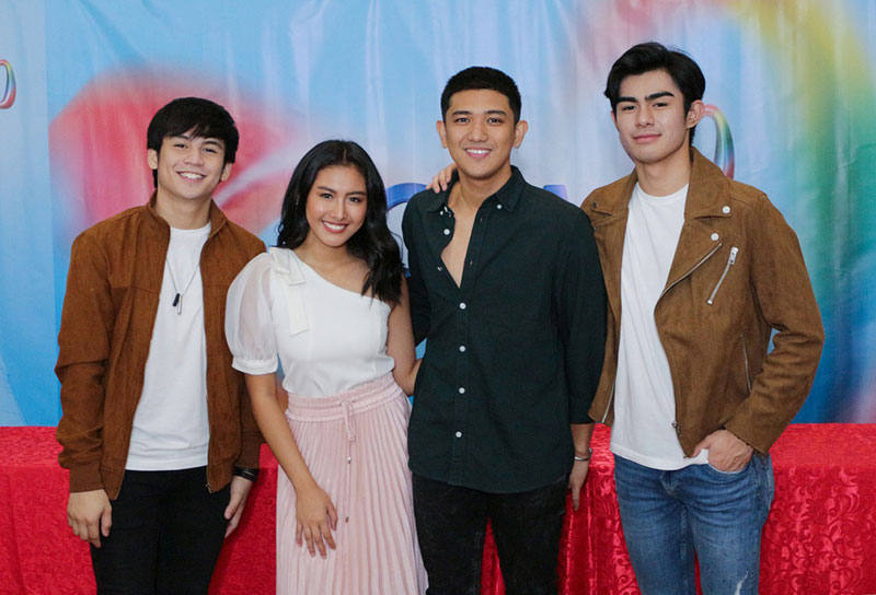 RISING STARS.  'All-Out Sundays' cast members (from left) Kim de Leon, Thea Astley, Jeremiah Tiangco, and Radson Flores are now official members of GMA Network family.