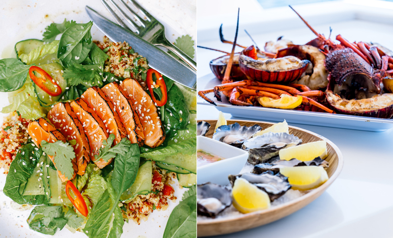 Salmon (left) and oysters and lobsters are good sources of vitamin D and zinc, respectively.