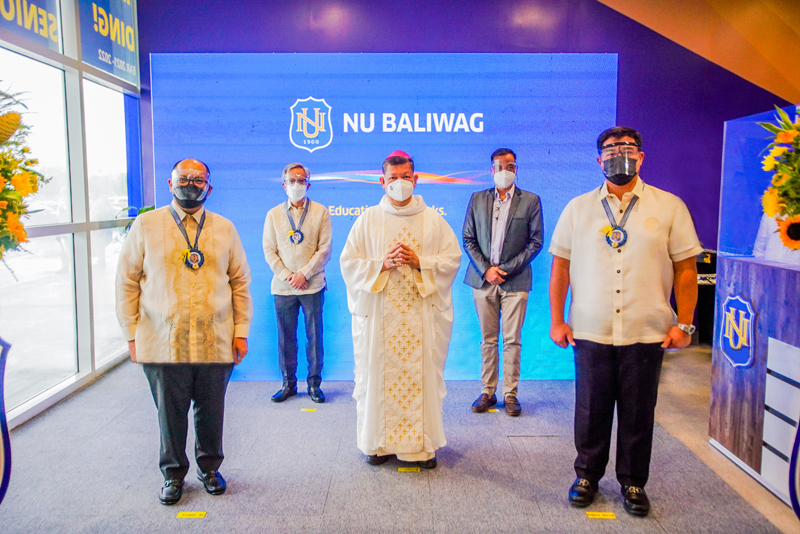 Gracing the opening of National University in Baliwag are (from left) NU president Dr. Renato Carlos Ermita, Jr., NU vice president for administration Jose Nilo Ocampo, Bishop Dennis Villarojo from Diocese of Malolos, SM Supermalls senior vice president for mall operations Bien Mateo, and Baliwag Municipal Mayor Ferdinand Estrella.