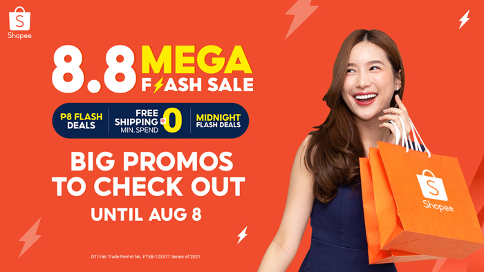 Big promos to check out at Shopee 8.8 Mega Flash Deals Sale