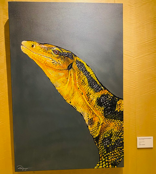 At first glance, anyone would think this is a photograph. It is actually a lifelike acrylic on canvas, 'Yellow-headed Water Monitor' by Larie N. Dianco and sells for only P35,000.