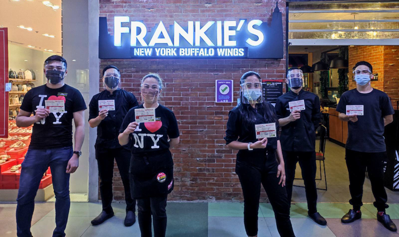 Frankie's encourages staff to get vaccinated against COVID-19.