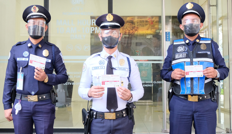 SM City North Edsa's security guards are 100 percent vaccinated.