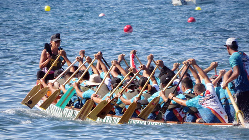 Dragon boat racers are often seen practicing their skills in the bay.