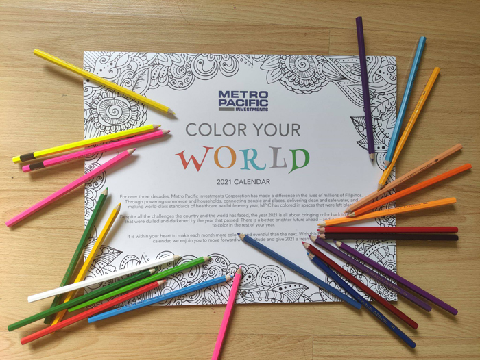 With all the challenges the the world has faced, Metro Pacific Investments Corporation (MPIC) is bringing back color to Filipino homes with its Color Your World 2021 calendar, a coloring book-style date monitor depicting its core businesses in black-and-white images.