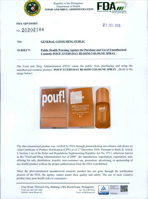 FDA issues public warning against cosmetic product sold online