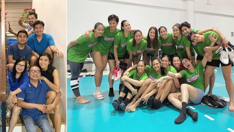 Alyssa believes it's never too early to start learning about finances and life insurance; she has her family (left) to thank for teaching her about financial responsibility. (Right) Alyssa with her Creamline Cool Smashers teammates. (Photos from @alyssa_valdez2/Instagram)