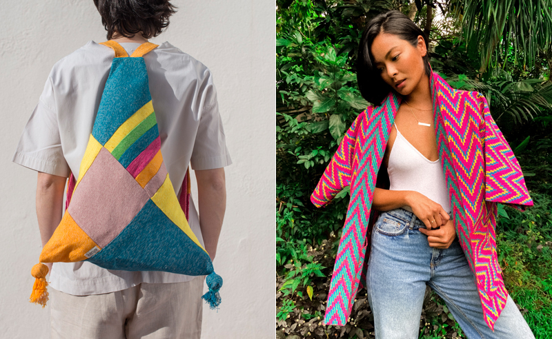 Studio Artesan showcases Filipino-made accessories and apparel from homegrown labels including Kanya's Elizze multi-way bag (left) and Ethnique samu jacket (right).