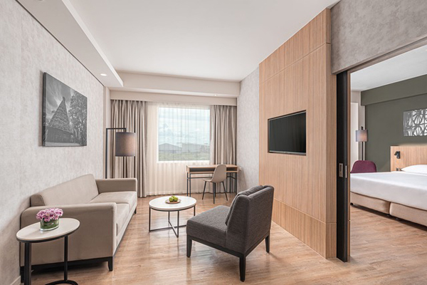 One of the hotel's cozy and functionally designed junior suites.