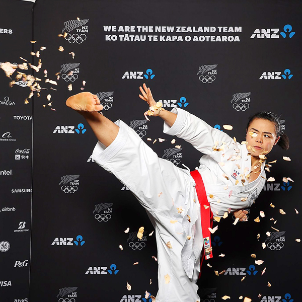 Andrea Anacan makes a karate demo during the announcement ceremonies of her qualification to the Tokyo Olympics. Photo courtesy of NZ Team FB Page