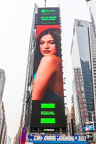 The Kapuso star covers Spotify's Equal playlist featured on a digital billboard on Times Square in New York.