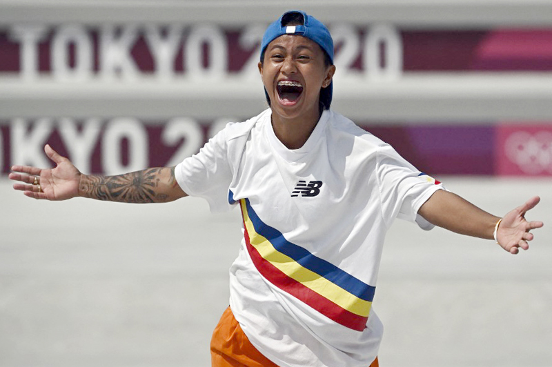 The Philippines' Margielyn Arda Didal reacts as she competes in the women's street preliminary round during the Tokyo 2020 Olympic Games at Ariake Sports Park Skateboarding in Tokyo. AFP