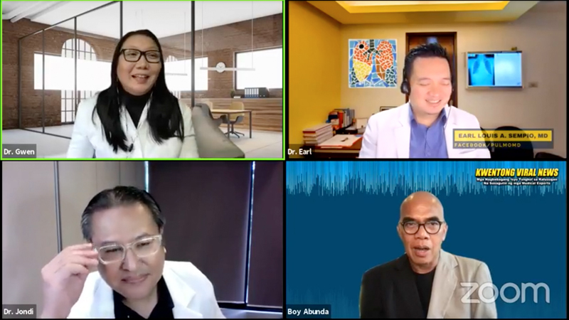 Clockwise: Dr. Gwen Agra, Dr. Earl Sempio, host Boy Abunda, and Dr. Joseph Adrian Buensalido address common misconceptions about cough and COVID-19 during the 'Kwentong Viral News Webinar'.