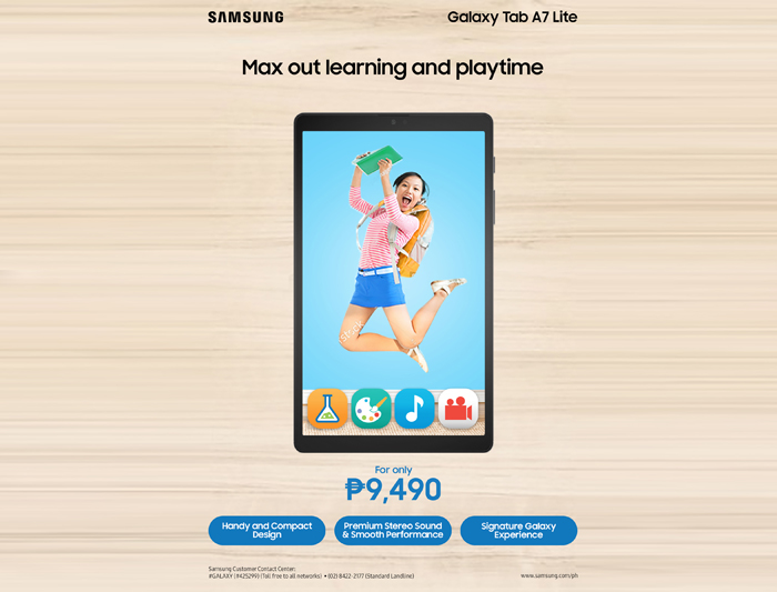 Maximize learning, playtime with the new Samsung Galaxy Tab A7 Lite