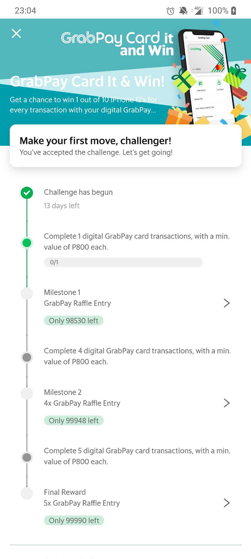 How to win an iPhone 12 by using GrabPay Card