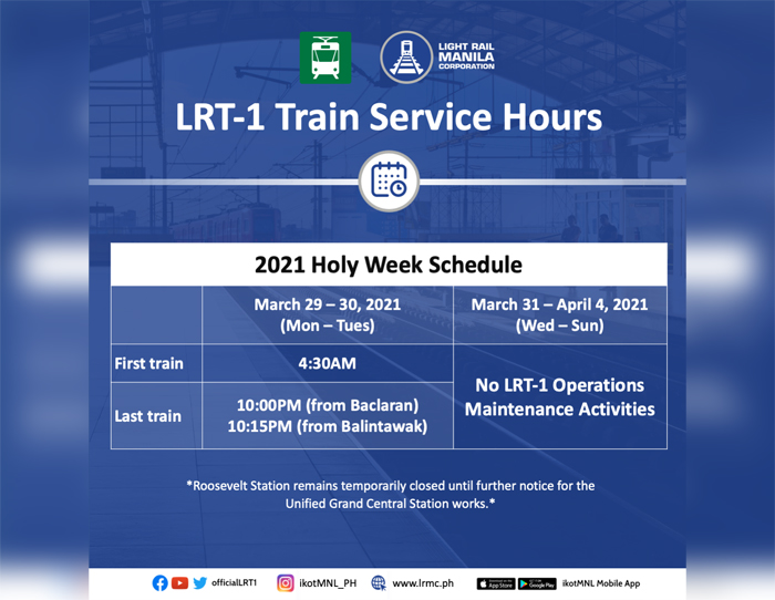 LRT-1 to suspend operations for 5 days during Holy Week