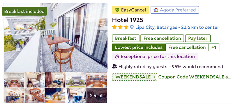 The EasyCancel badge on a listing means the property has flexible cancellation policies.