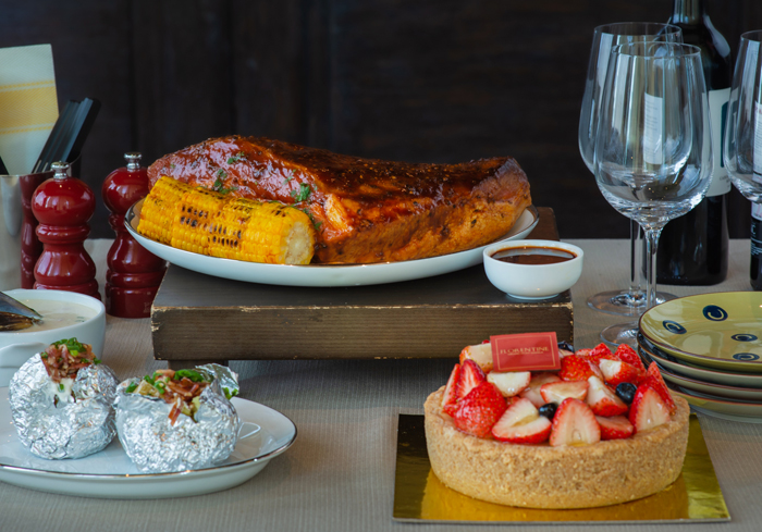 The Western Set Menu A consists of slow-smoked barbecue beef brisket with sides, seafood chowder and freshly baked rolls for appetizer, and a whole strawberry cheesecake.