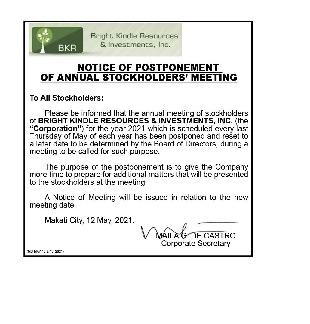 BRIGHT KINDLE RESOURCES & INVESTMENTS, INC.: Notice of Postponement of Annual Stockholders' Meeting