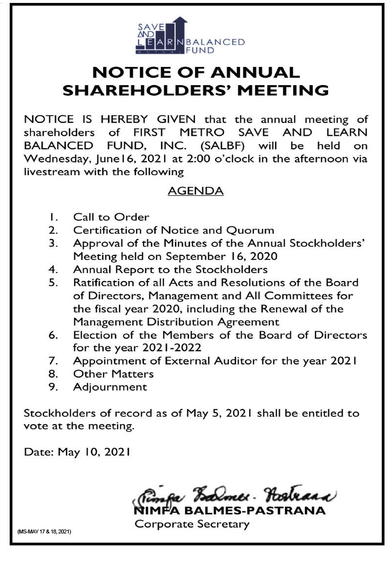 FIRST METRO SAVE AND LEARN BALANCED FUND, INC.: Notice of the Annual Stockholders' Meeting