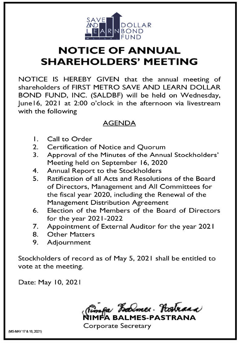FIRST METRO SAVE AND LEARN DOLLAR BOND FUND, INC.: Notice of the Annual Stockholders' Meeting