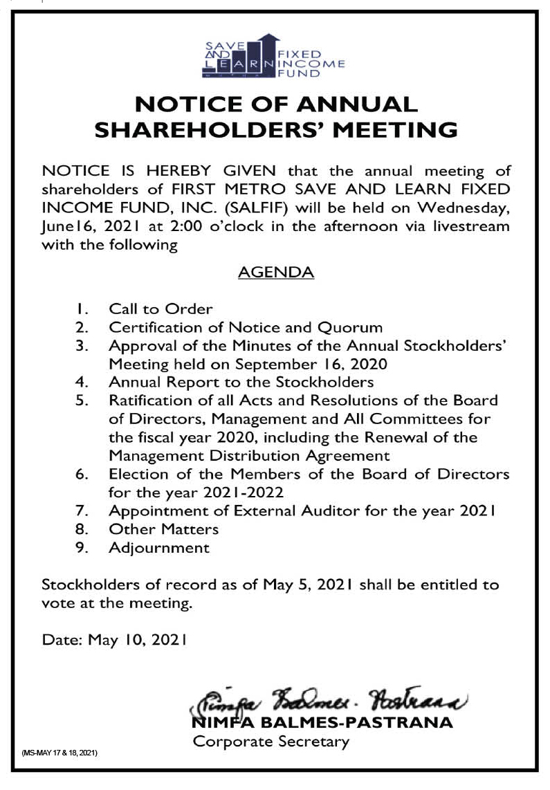 FIRST METRO SAVE AND LEARN FIXED INCOME FUND, INC.: Notice of the Annual Stockholders' Meeting