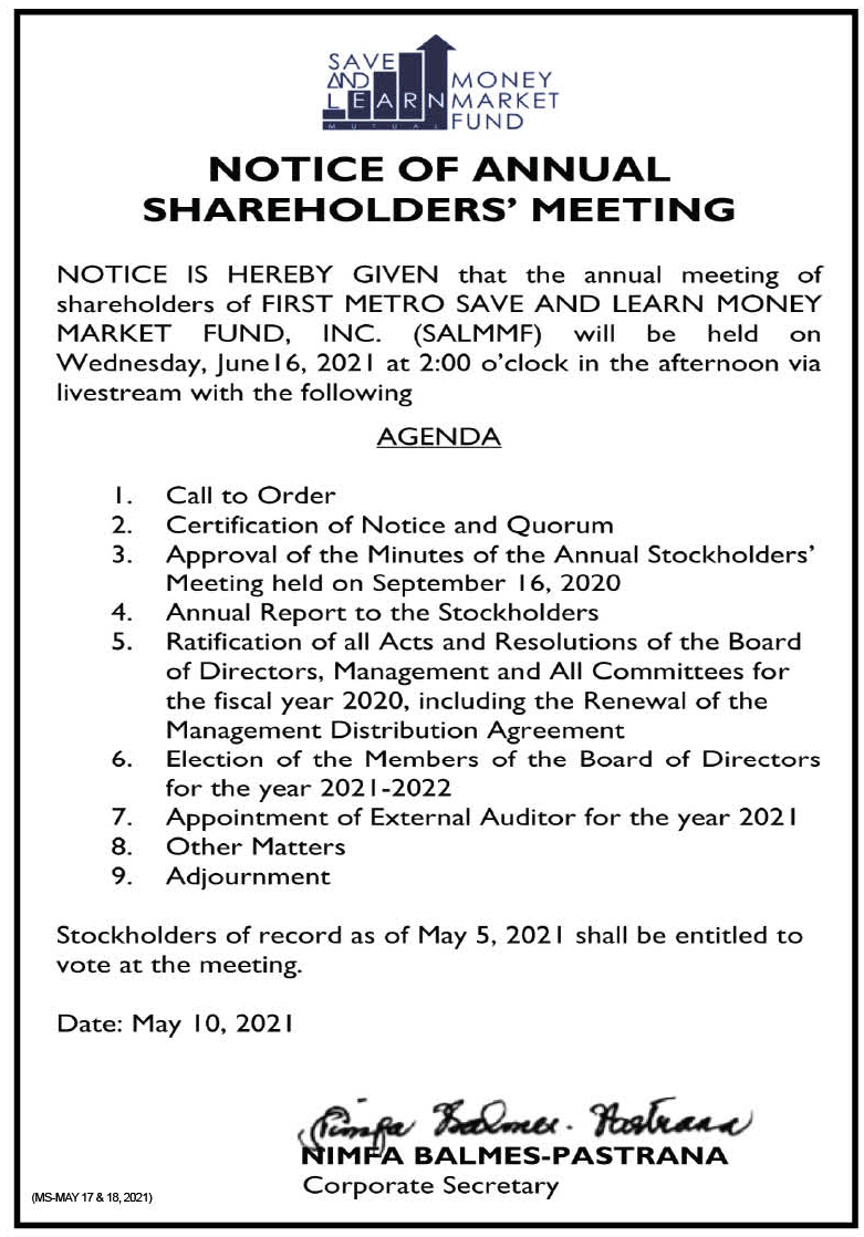 FIRST METRO SAVE AND LEARN MONEY MARKET FUND, INC.: Notice of the Annual Stockholders' Meeting