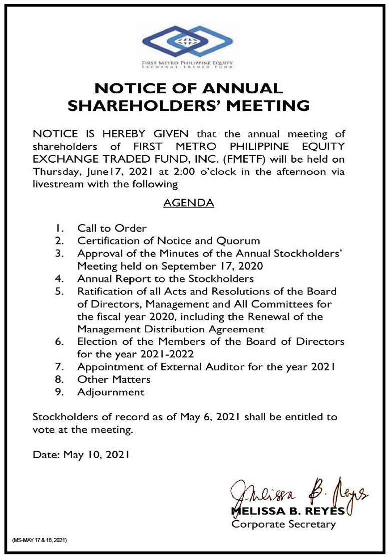 FIRST METRO PHILIPPINE EQUITY EXCHANGE TRADED FUND, INC.: Notice of the Annual Stockholders' Meeting