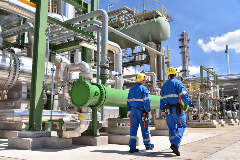 Plant workers at a petrochemical plant