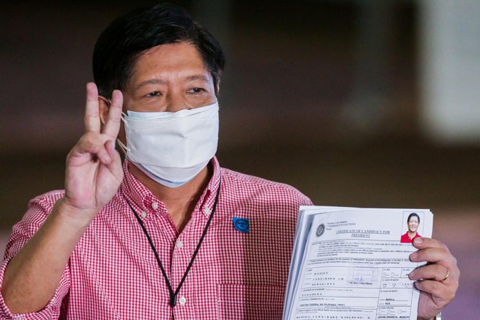 Bongbong files COC, says open to tandem with Bong Go as VP