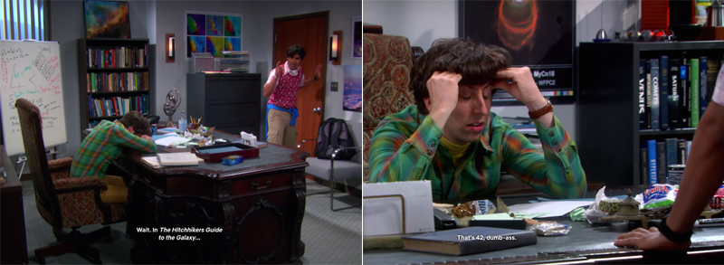 Raj (Kunal Nayyar) and Howard (Simon Helberg) debate the answer to the mystery of number 43 they found in a room Sheldon goes to. (CBS/Netflix)