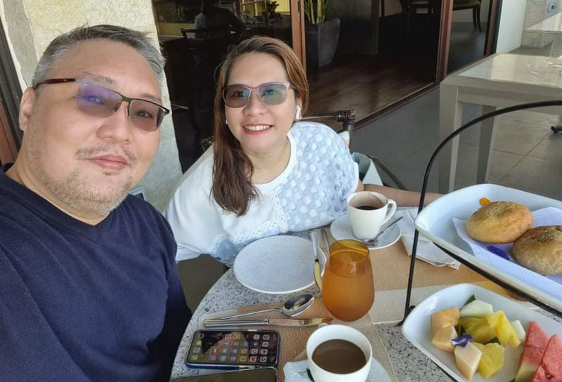 The author and his wife enjoying Anya's plush villa and delectable food and beverage offerings.