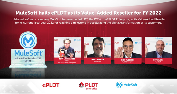 ePLDT, the ICT arm of PLDT Enterprise, today announced that it has been awarded as Value-Added Reseller for the current fiscal year 2022 (FY22) by MuleSoft, provider of the world's #1 integration and API platform, for reaching a milestone in accelerating the digital transformation of its customers.
