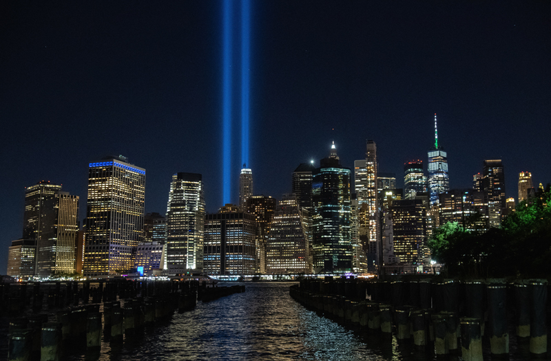 The annual 'Tribute in Light' marking the 20th anniversary of the 9/11 attacks on the World Trade Center shines within lower Manhattan's skyline in New York. AFP