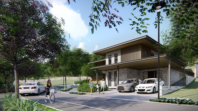 Houses in the community are surrounded by trees, as seen in this artist rendering.