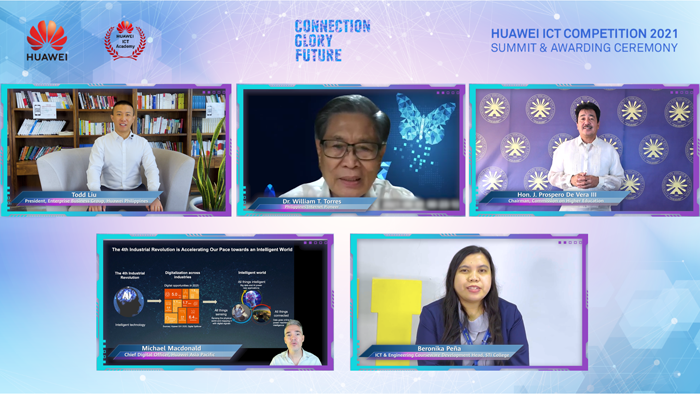 """With the theme of """"Connection, Glory, Future,"""" the national leg of Huawei ICT Competition Philippines 2021 concluded Friday with the teams from the University of the East and STI College bagging the top awards."""