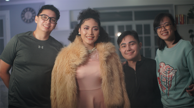 Ali Young (second from left) with Charles Gener, Geoff Mabasa, and Adrienne Cajayon, co-founders of NFT music label Alibatta.