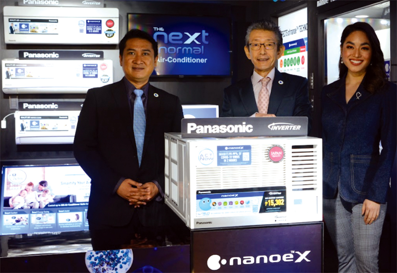 Panasonic Air-Conditioning Philippines president and chief executive Masaru Toyota (middle) with PACPH communications and product planning manager Francis Serrato and host CJ Hirro at the launch of Panasonic Premium WAC Inverter XU Series Window Type with nanoe X technology.